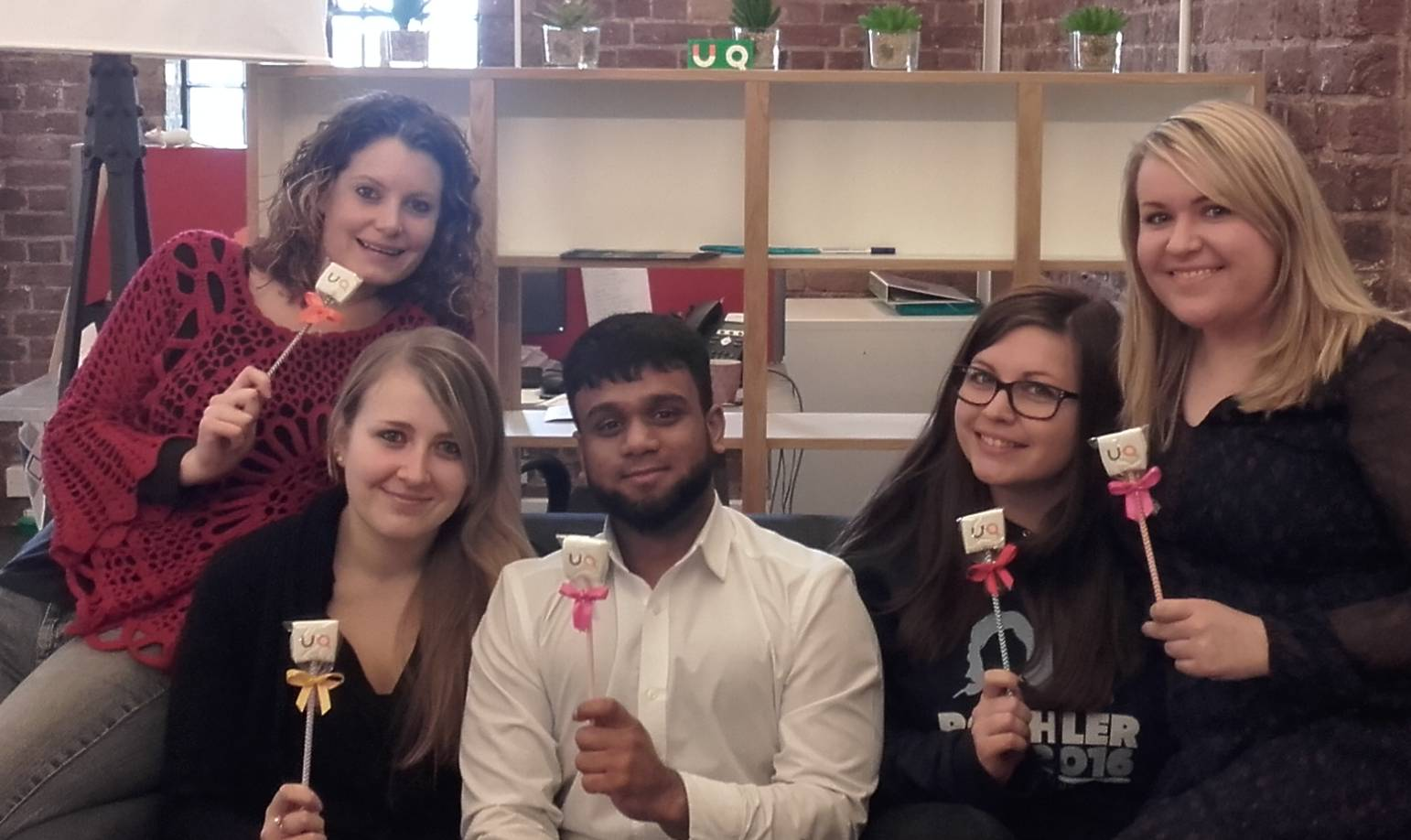 The UniQuest team with marshmallows