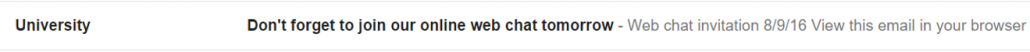 Screenshot of unopened email reminder for online web chat
