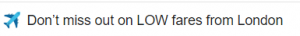 Screenshot of Subject line in email about low fares with plane emoji