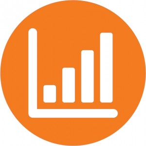 Orange circle with bar graph icon