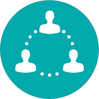 Teal circle with three people connected by dots in a circle icon
