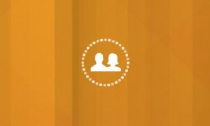 Orange background with two people icon