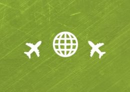 Green background with globe and two airplanes icons