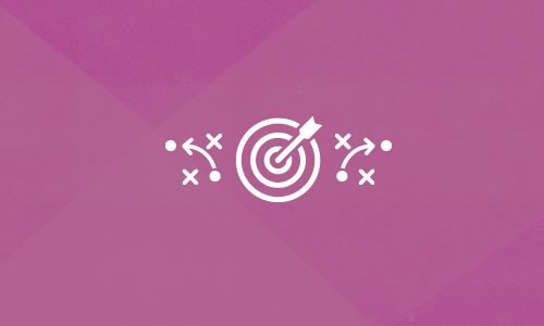 Purple background with target and arrow in bullseye icon