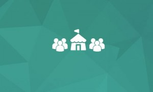 Teal background with event tent and people icon