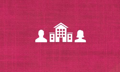 Pink background with building and two people icons
