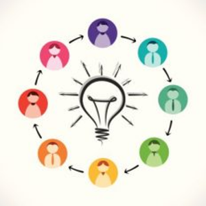 Illustration of people in circle around a lightbulb