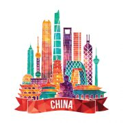 Illustration of city skyline in China