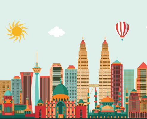 Illustration of city skyline in Malaysia