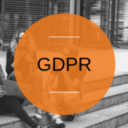 Photo of students and orange circle with text GDPR