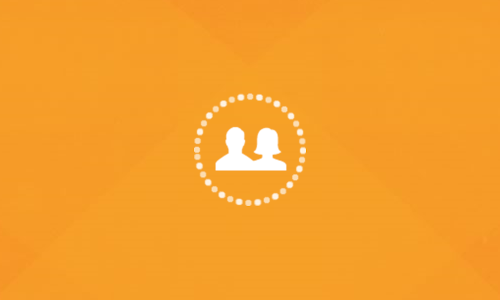 Orange background with two students icon