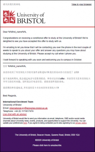Example multi-lingual email